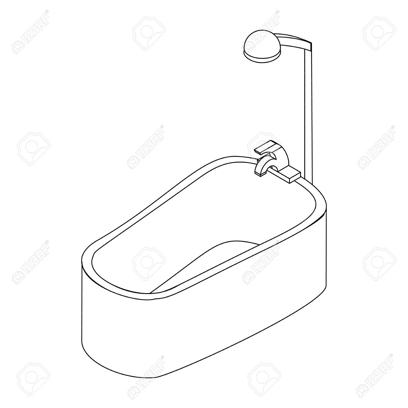 Bathroom Shower Icon In Isometric 3d Style Isolated On White