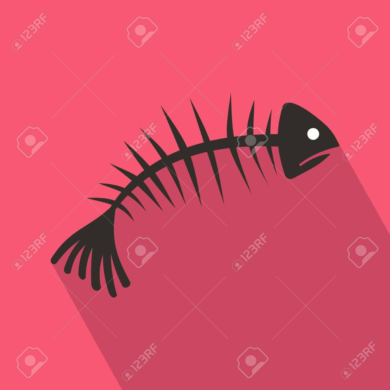 Fischgräten-Symbol Im Flachen Stil Mit Langen Schatten ...