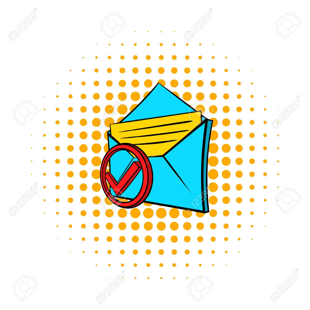 Delivered e mail icon in pop art style on dotted background delivered e mail icon in pop art style on dotted background internet and biocorpaavc