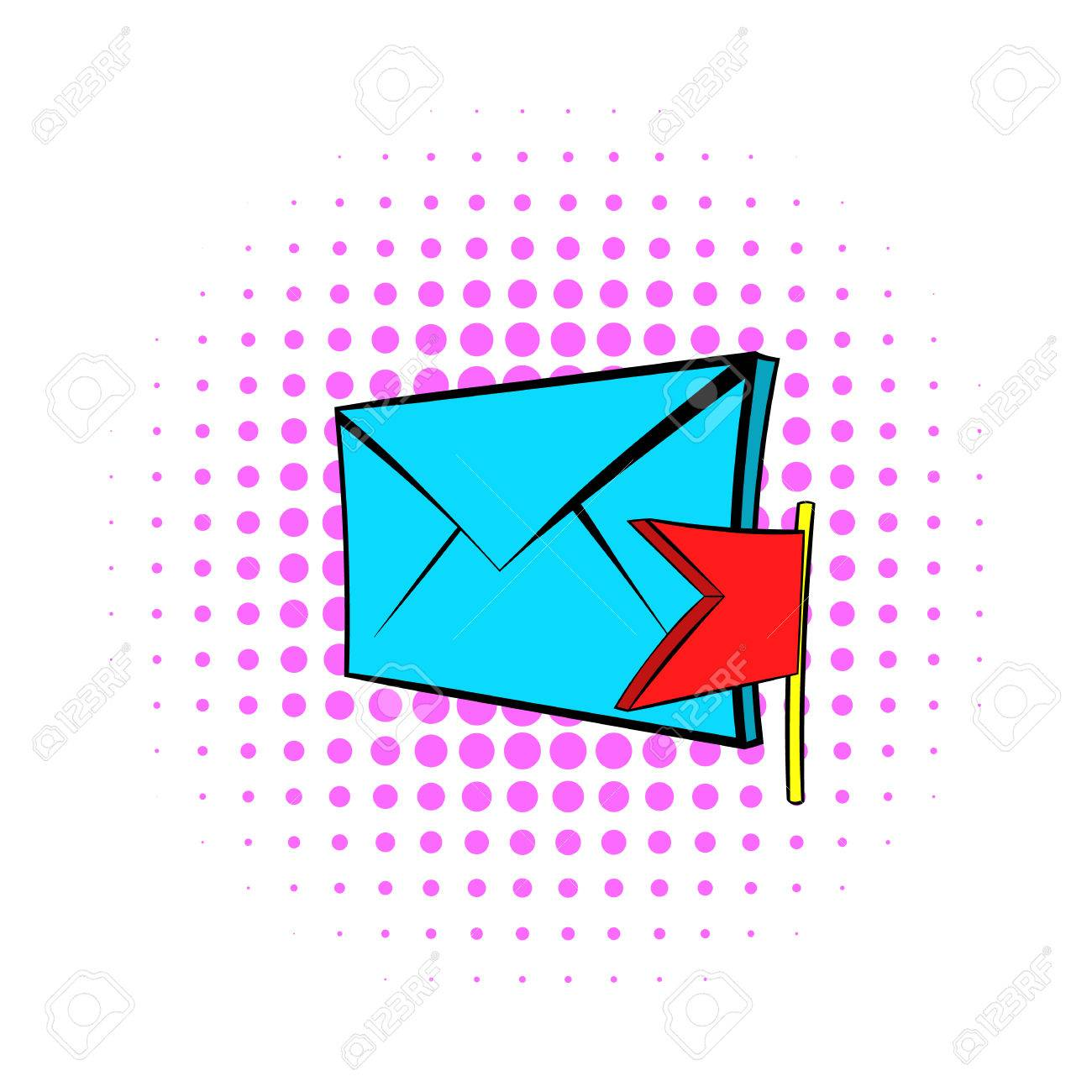 Flag e mail icon in pop art style on dotted background internet flag e mail icon in pop art style on dotted background internet and biocorpaavc