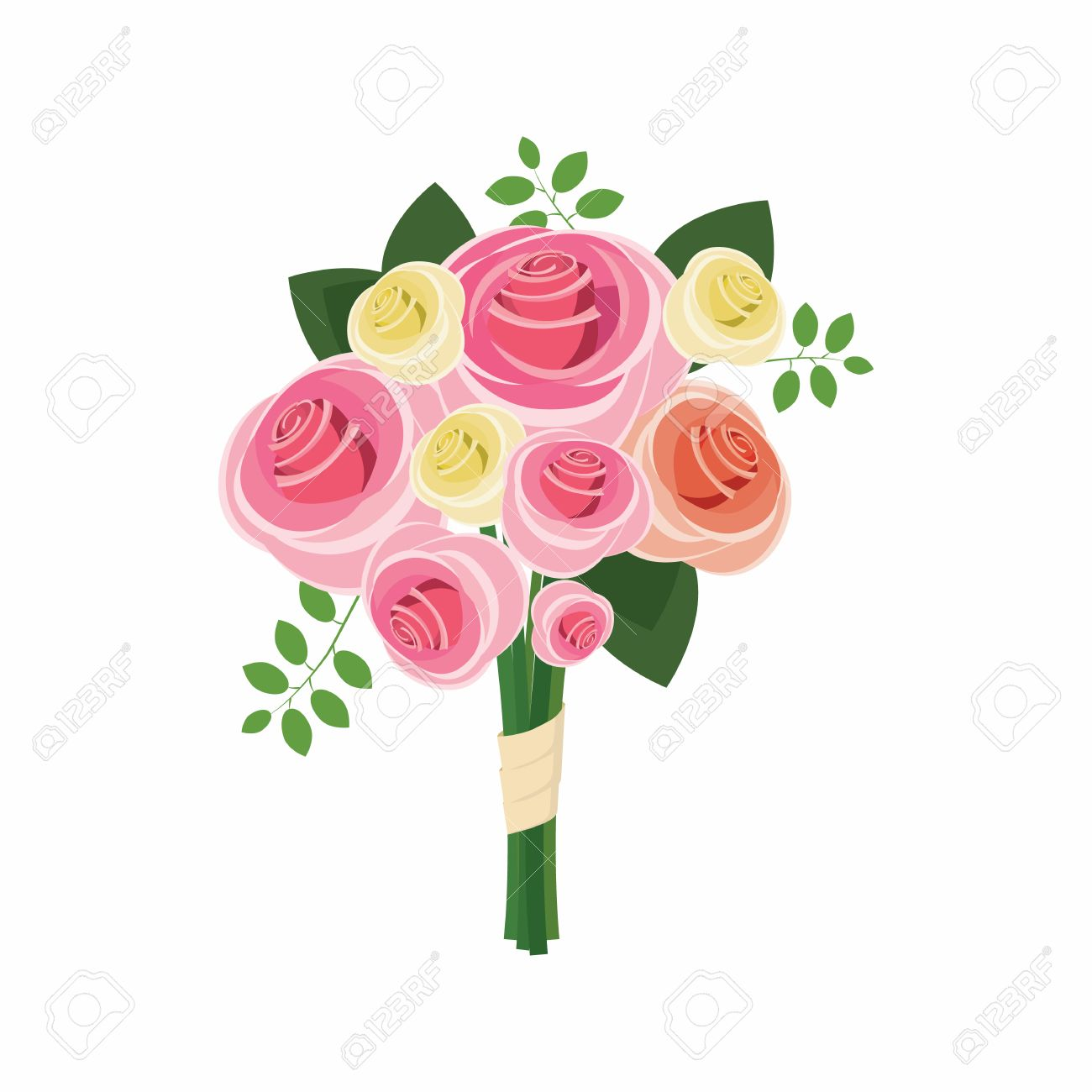Wedding Bouquet Of Pink Roses Icon In Cartoon Style On A White ...