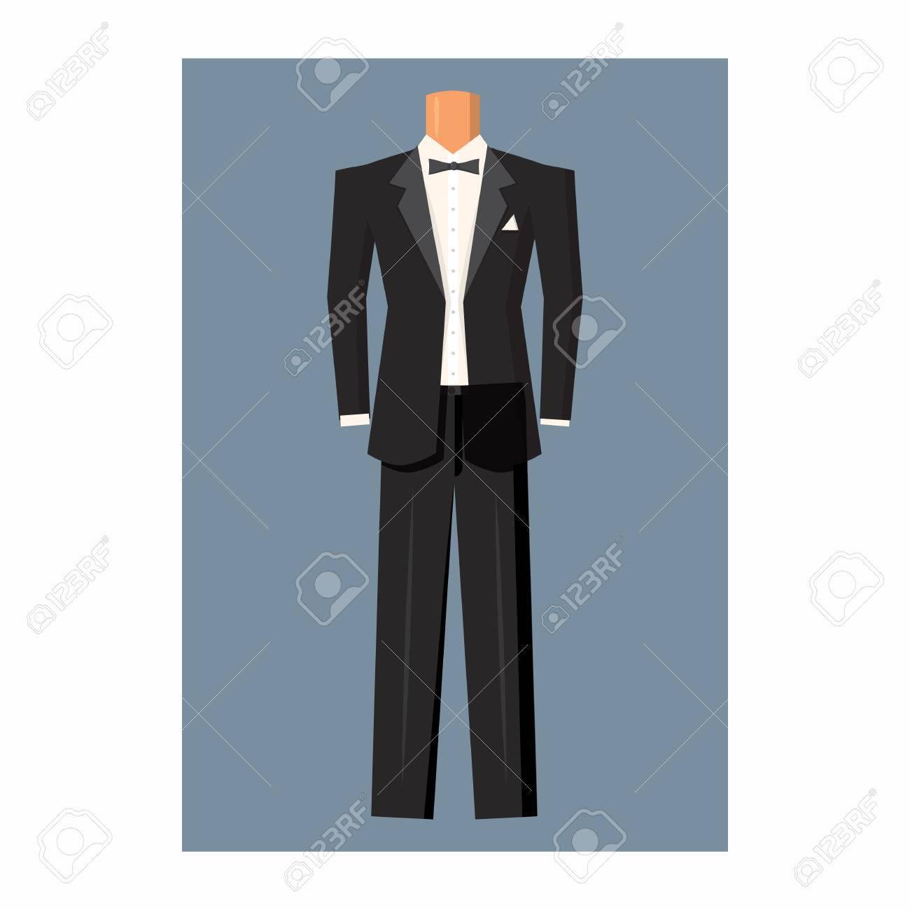 wedding tuxedo icon in cartoon style on a white background royalty