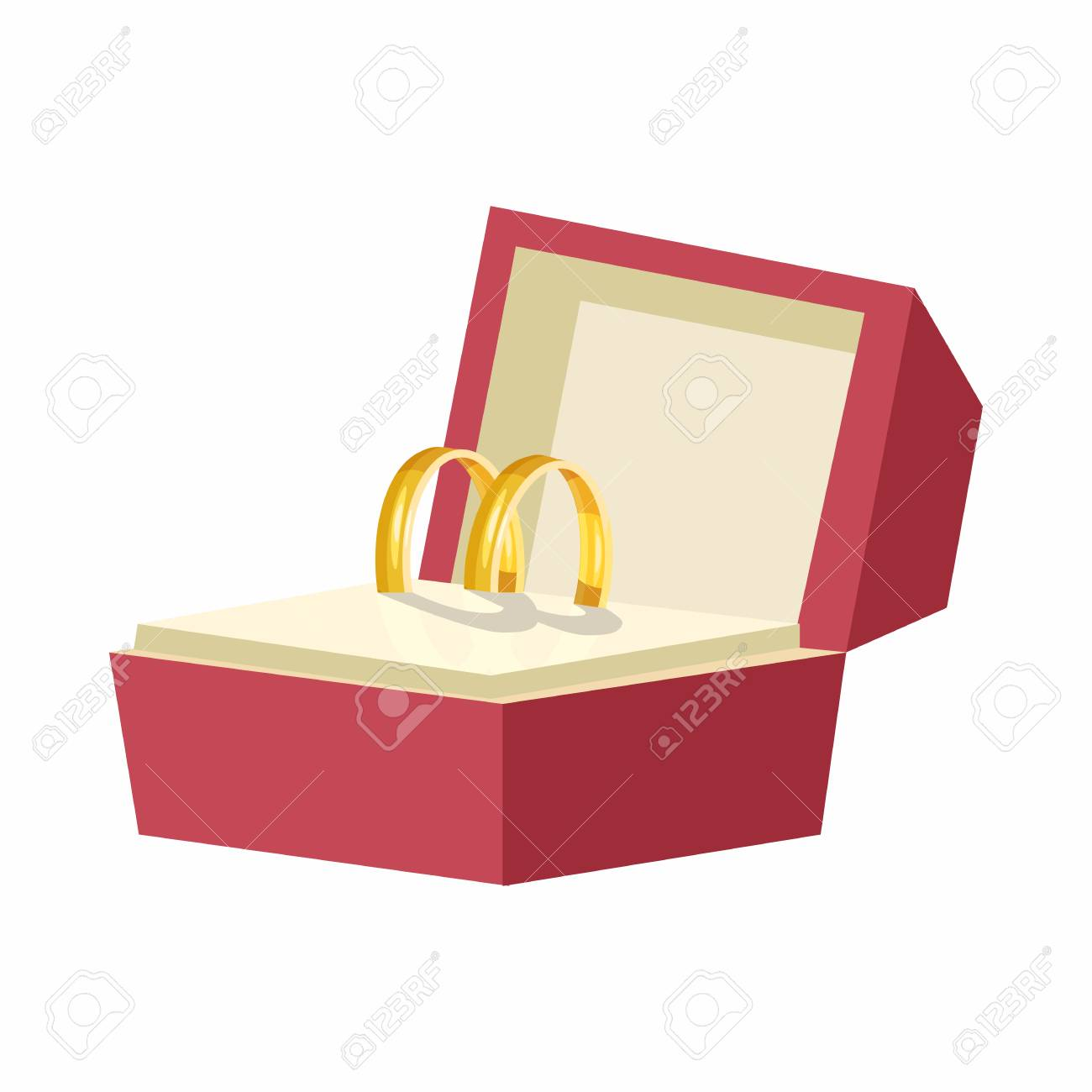 Wedding Rings In A Red Box Icon In Cartoon Style On A White