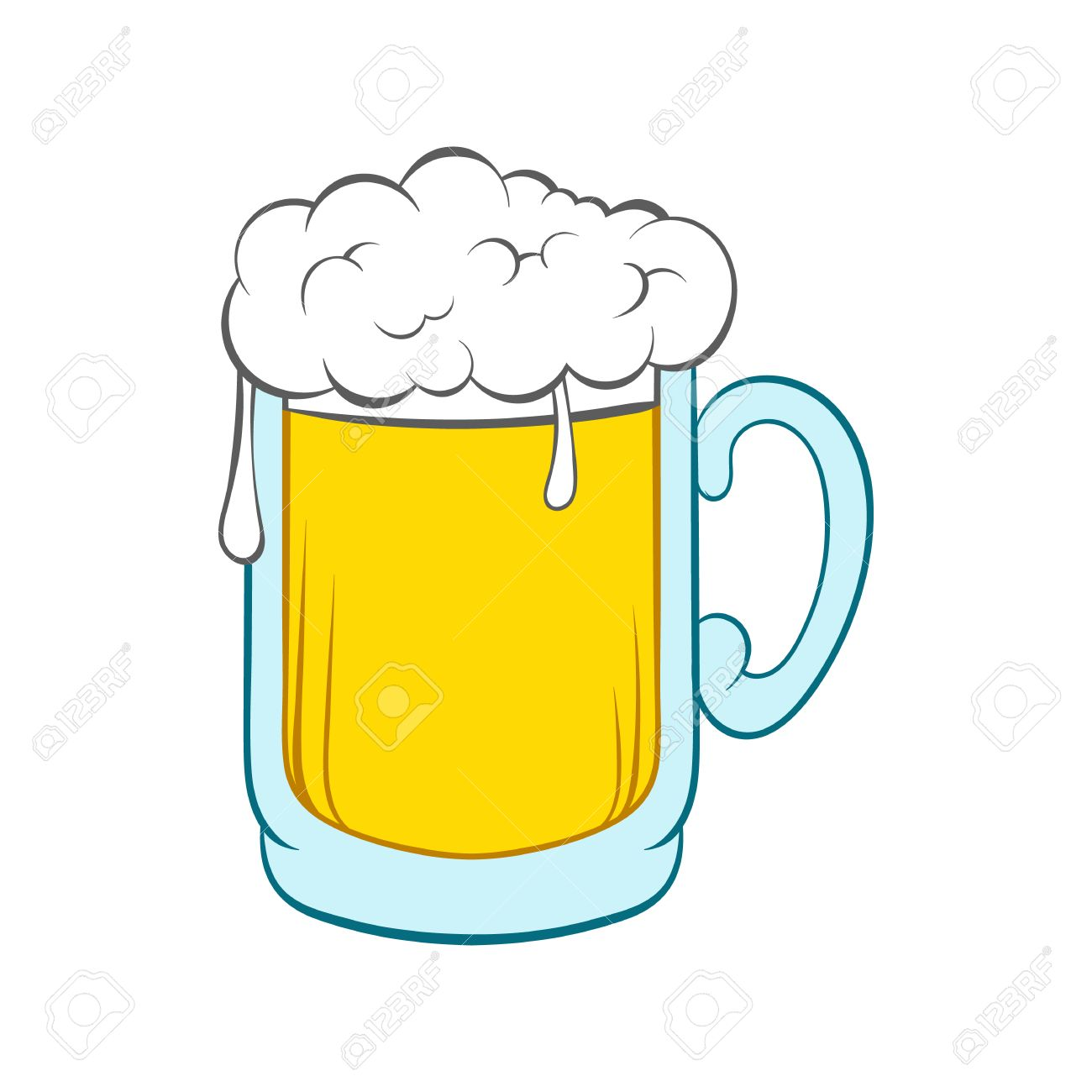 Beer mug icon in cartoon style on a white background - 57980226
