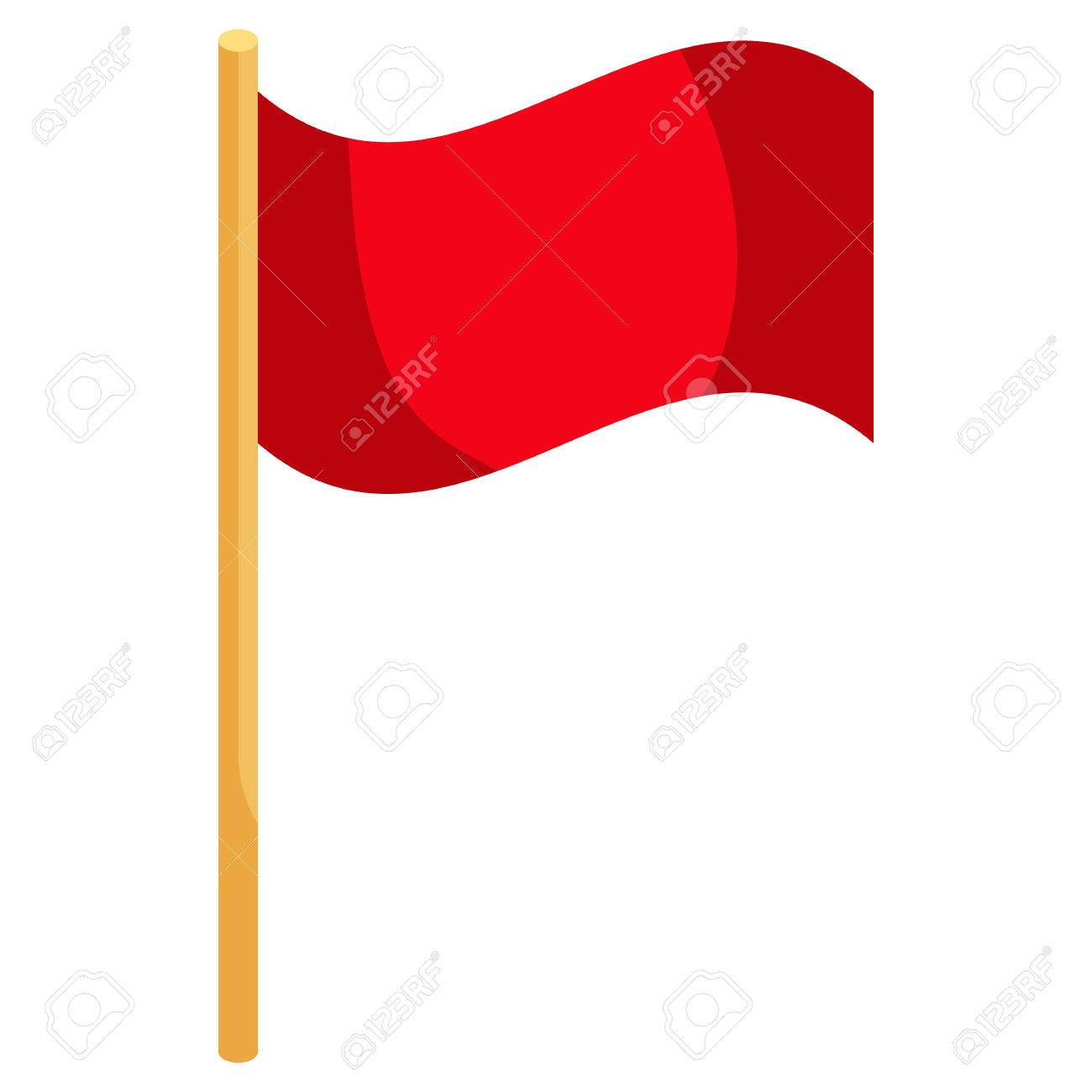 Red soccer corner flag icon in cartoon style on a white background