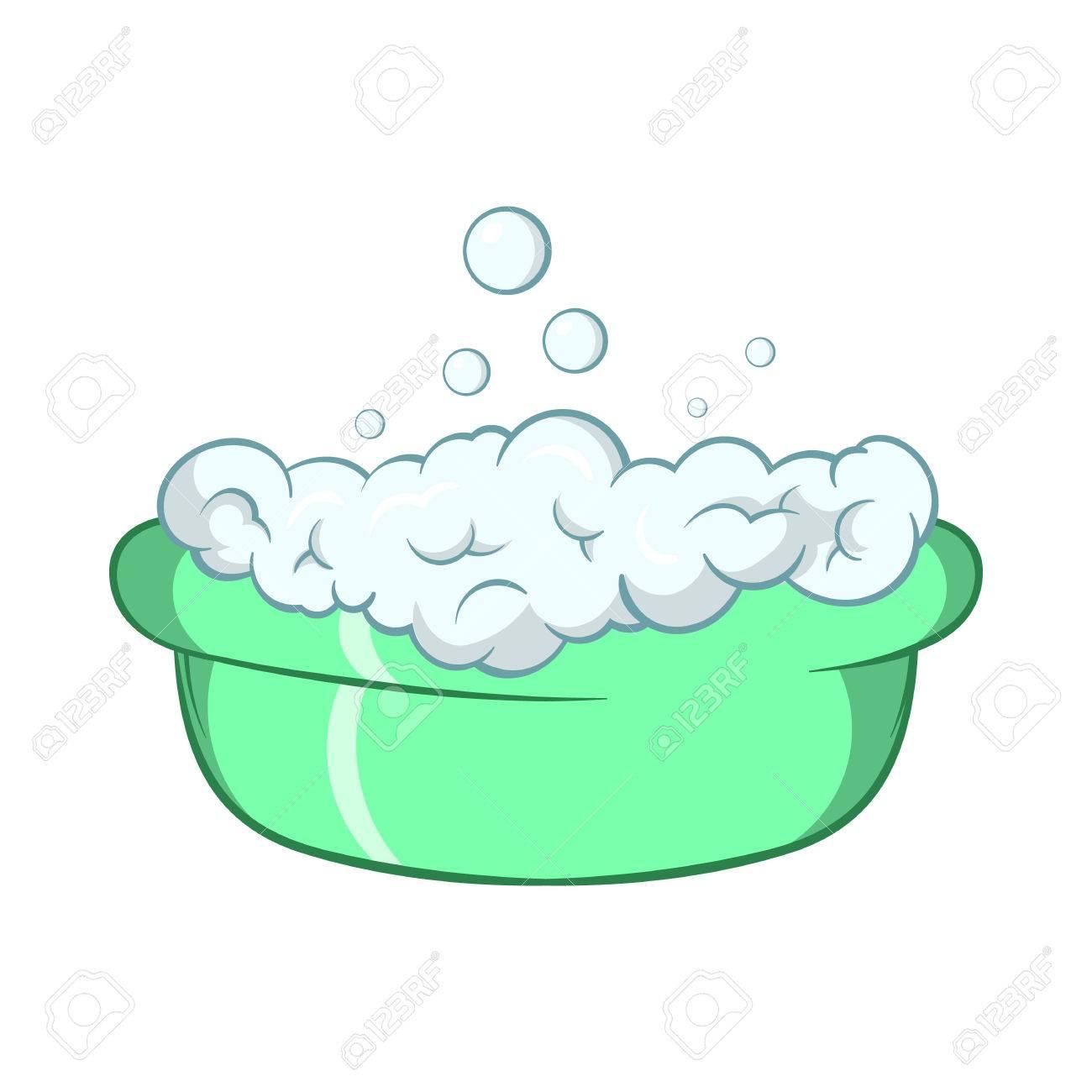 grüne babywanne mit schaum symbol im cartoon-stil auf einem weißen, Hause ideen