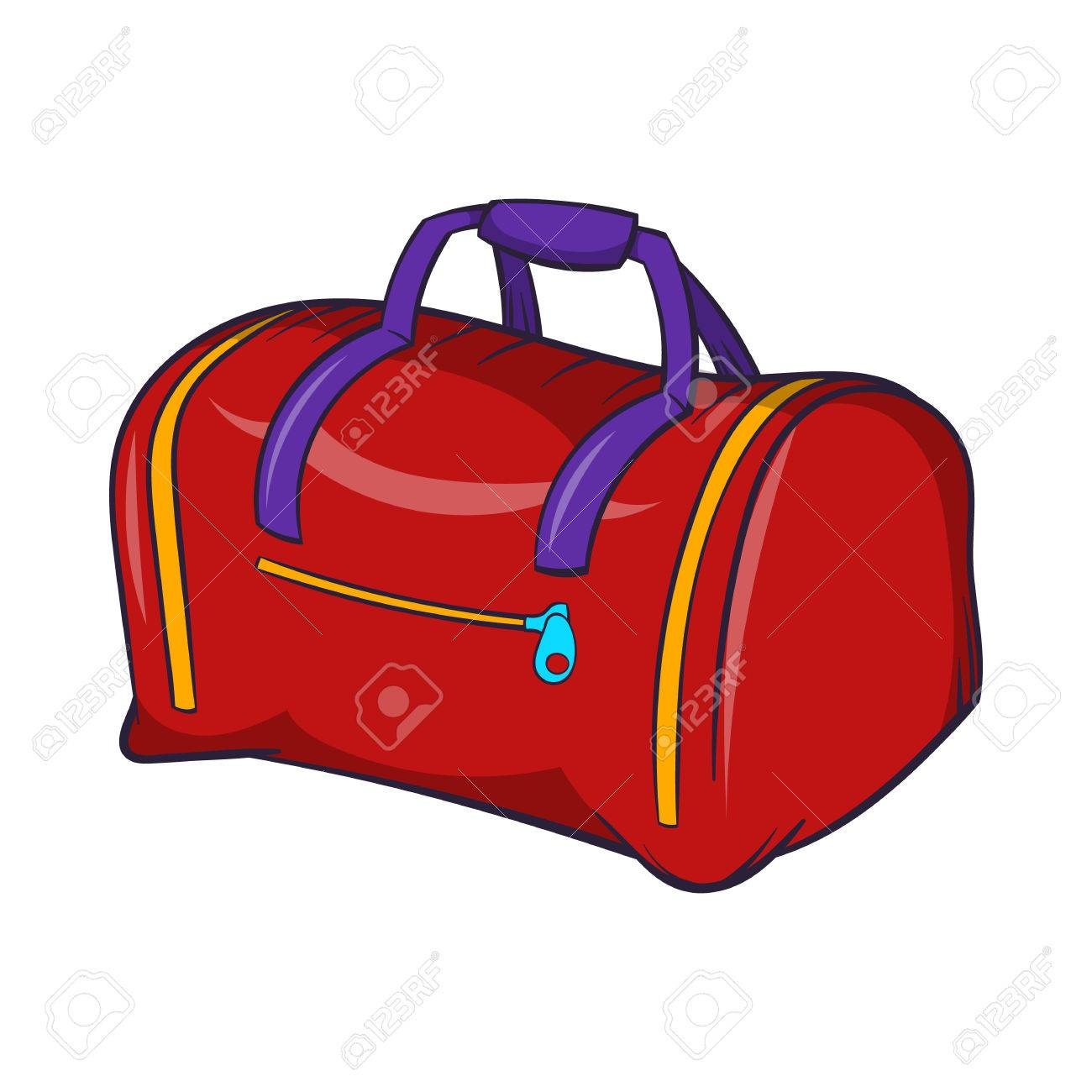 Red sports bag icon in cartoon style on a white background Stock Vector -  58464597 346f557d0a8f1