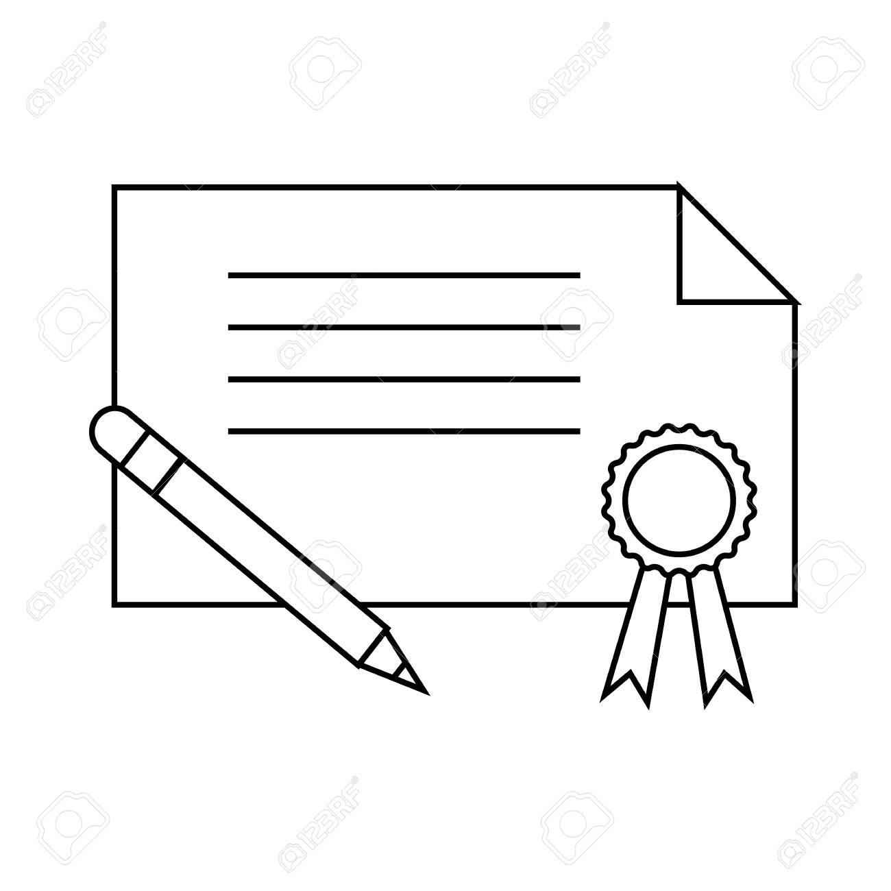 certificate and pen icon in outline style on a white background