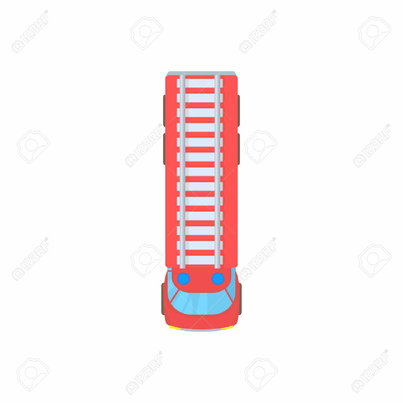 Fire truck top view icon in cartoon style on a white background - 58868093