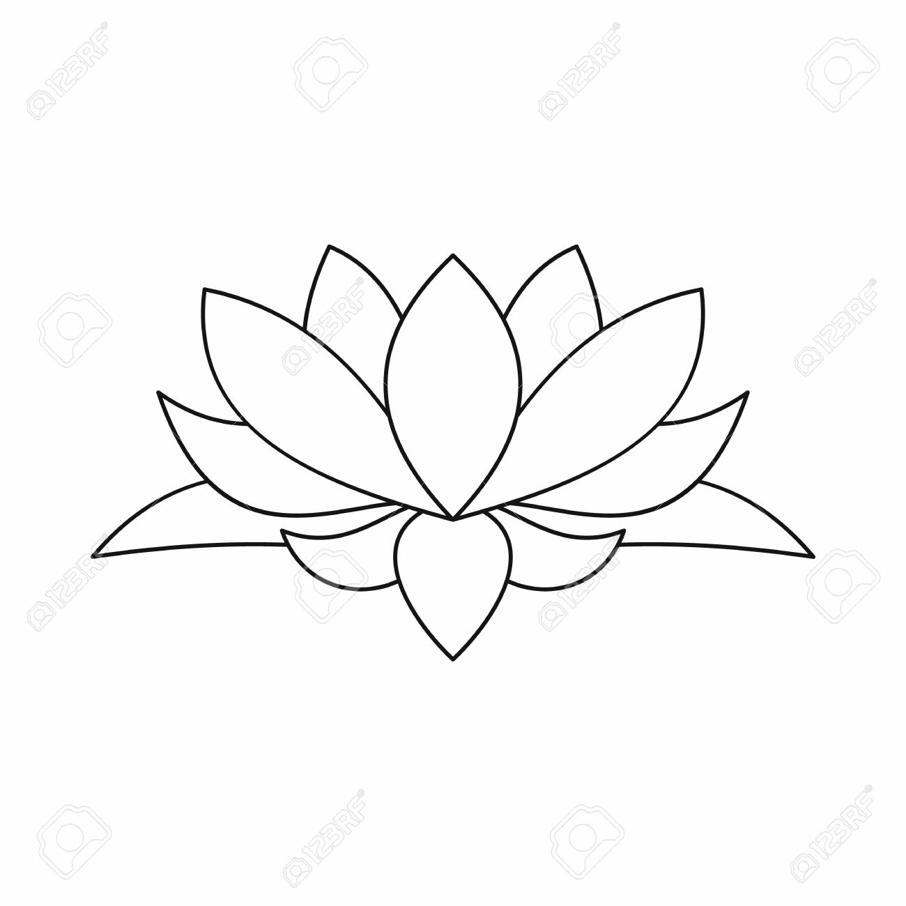 Lotus flower icon in outline style isolated on white background - 59137747