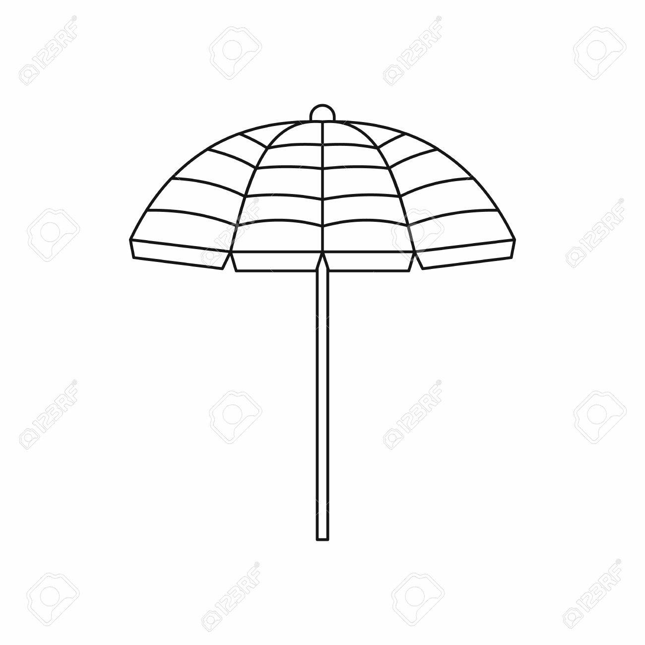 ca669ede0d Beach umbrella icon in outline style isolated on white background
