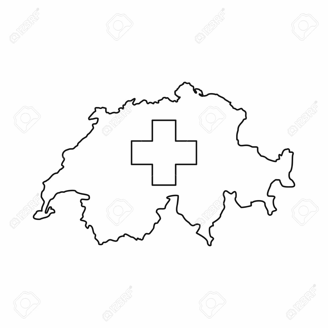 Switzerland Map Icon In Outline Style Isolated On White Background - Togo map outline