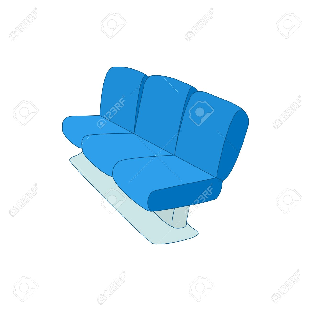 Waiting Room Chairs Icon - Waiting area blue airport seats icon in cartoon style on a white background