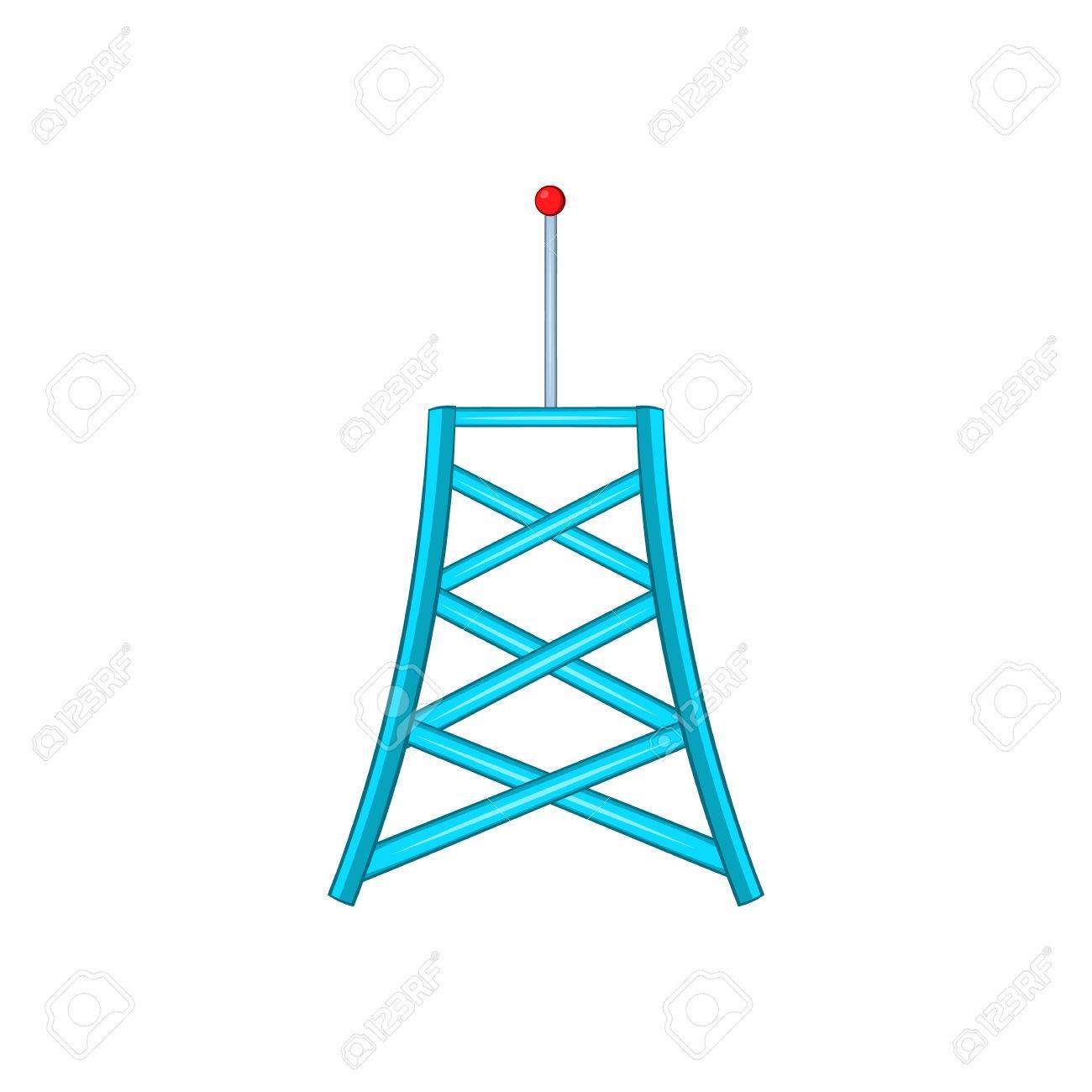 Drahtlose Verbindung Turm Symbol Im Cartoon-Stil Auf Einem Weißen ...