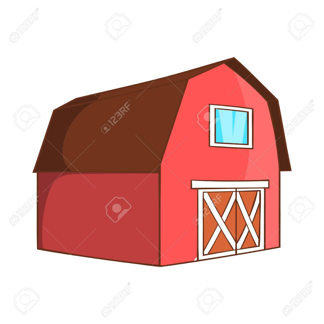 Barn For Animals Icon In Cartoon Style Isolated On White