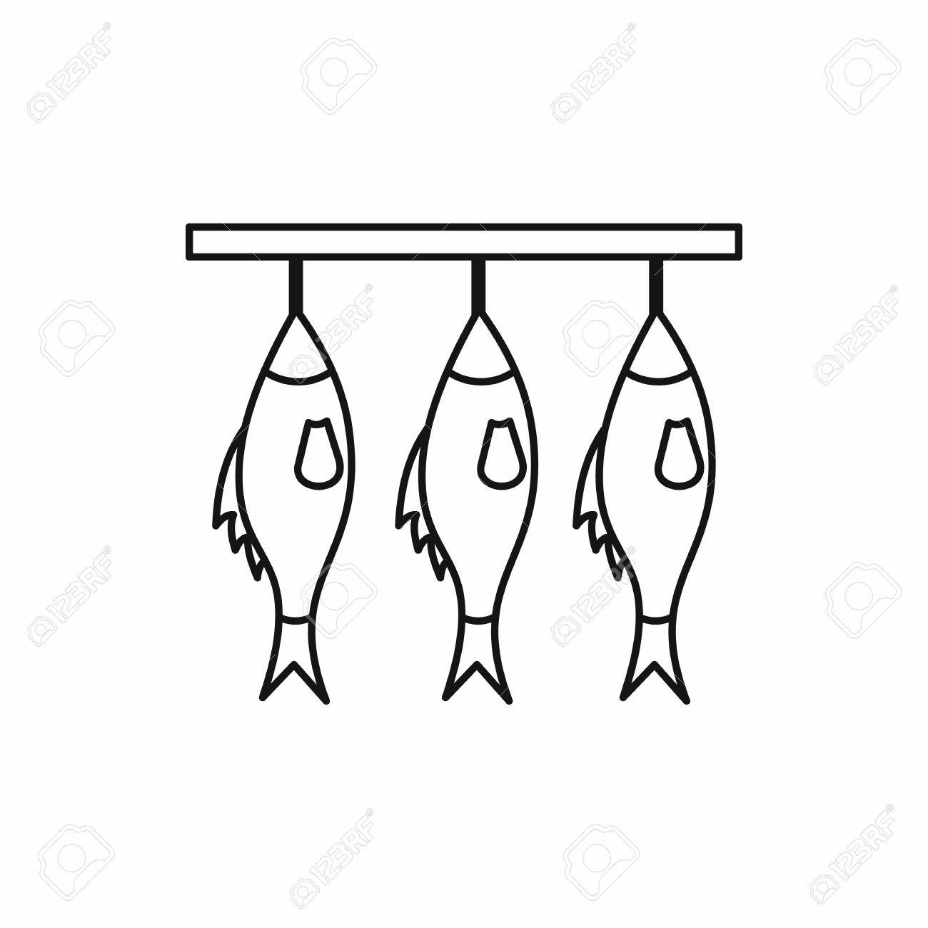 Three Dried Fish Hanging On A Rope Icon In Outline Style Isolated ... for Dried Fish Clipart Black And White  174mzq
