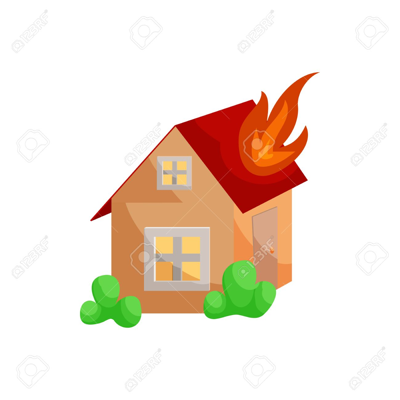 Fire Insurance Icon In Cartoon Style Isolated On White Background