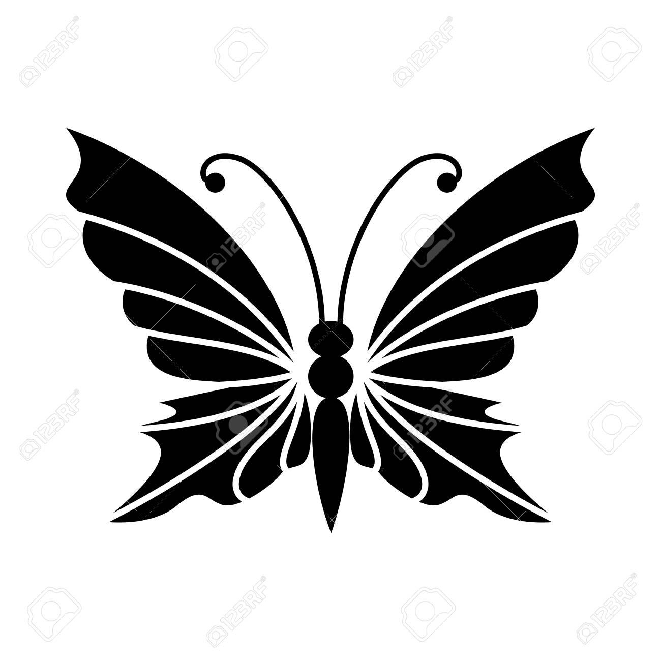 Schmetterling Mit Antennen-Symbol Im Einfachen Stil Isoliert Auf ...