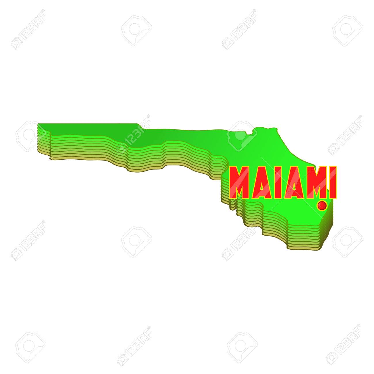 Florida Geography Map.Map Of Florida With Miami Icon In Cartoon Style Isolated On White