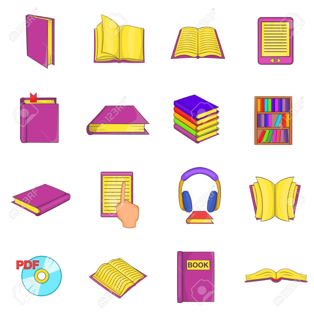 Icones De Livres Dans Le Style De Dessin Anime Elements De