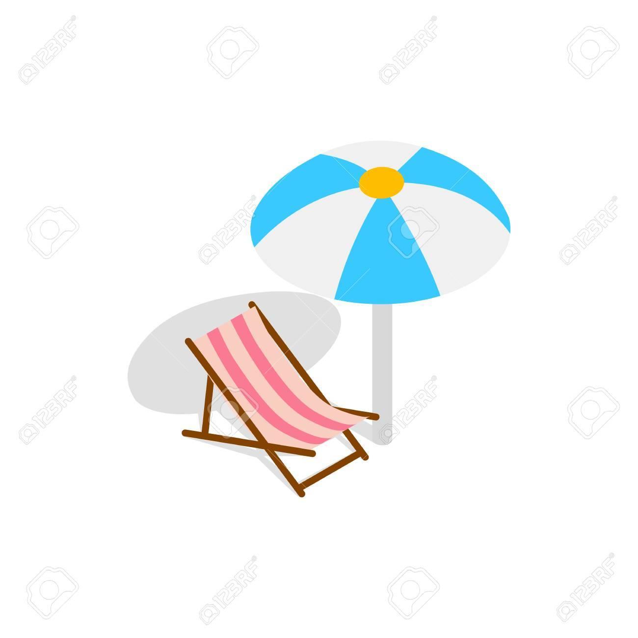 Fond Sur Dans Un Le Blanc Parasol Icône Longue 3d Avec Plage Chaise Isométrique Style 0mNv8nwO