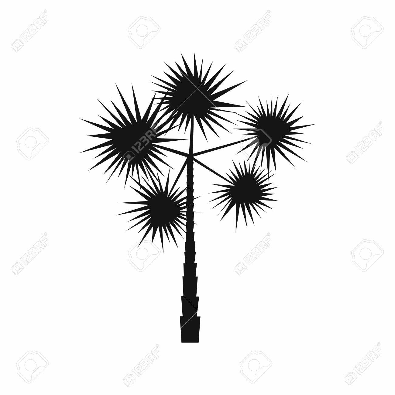 Spiny Tropical Palm Tree Icon In Simple Style Isolated On White