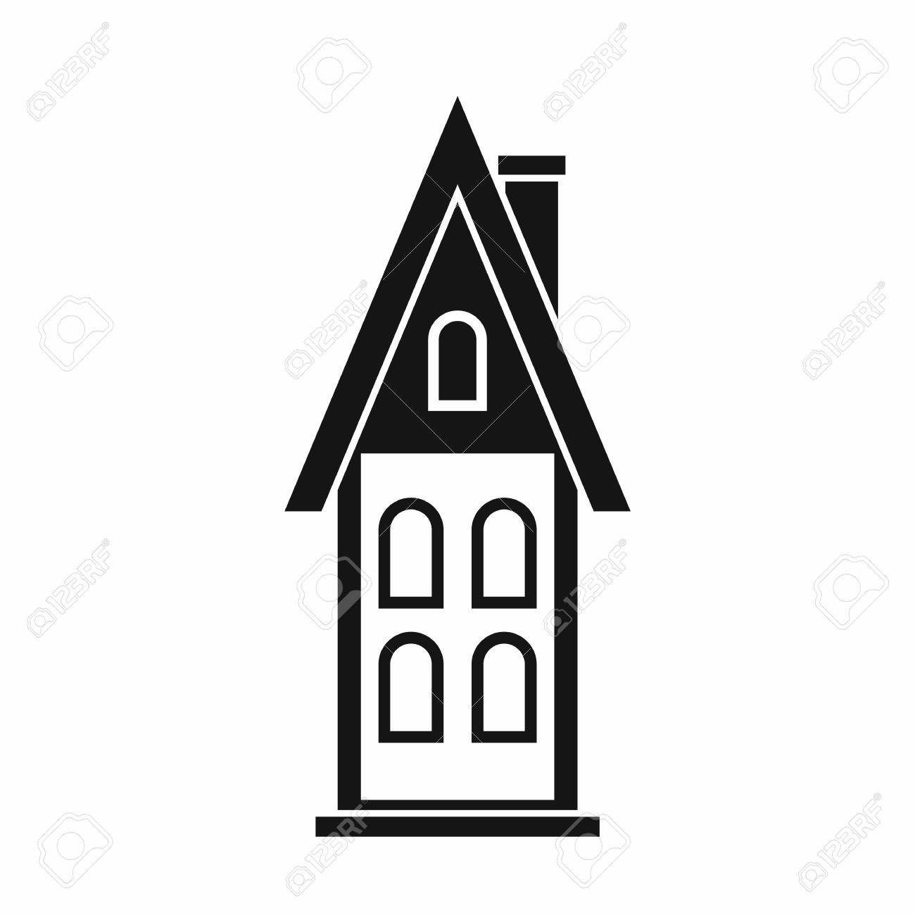 two storey house with attic icon in simple style isolated on