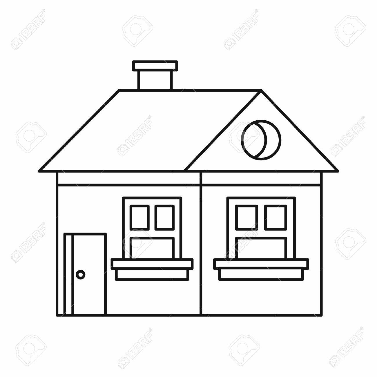 Large Single Storey House Icon In Outline Style Isolated On White Background Construction Symbol