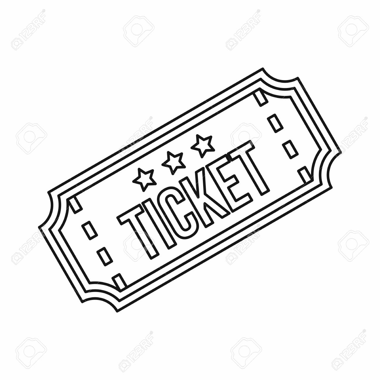 Movie Ticket Icon In Outline Style Isolated On White Background – Ticket Outline