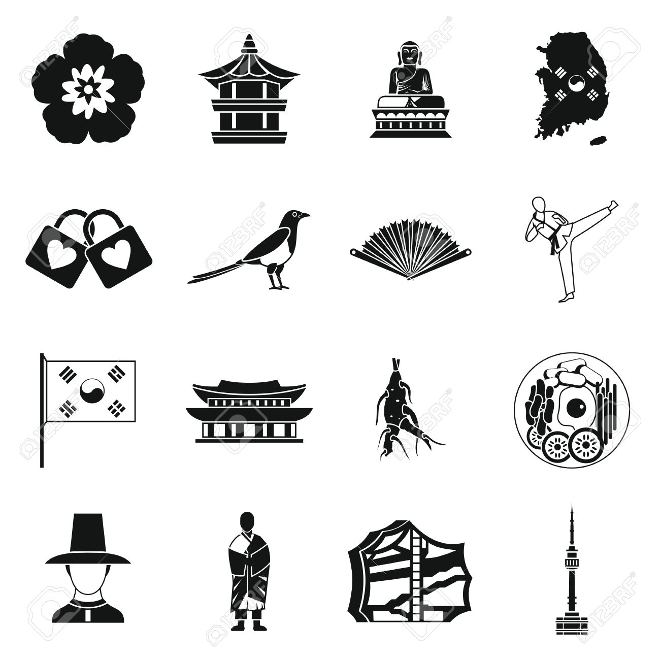South korea icons set in simple style south korea symbols set south korea icons set in simple style south korea symbols set collection vector illustration stock biocorpaavc Image collections