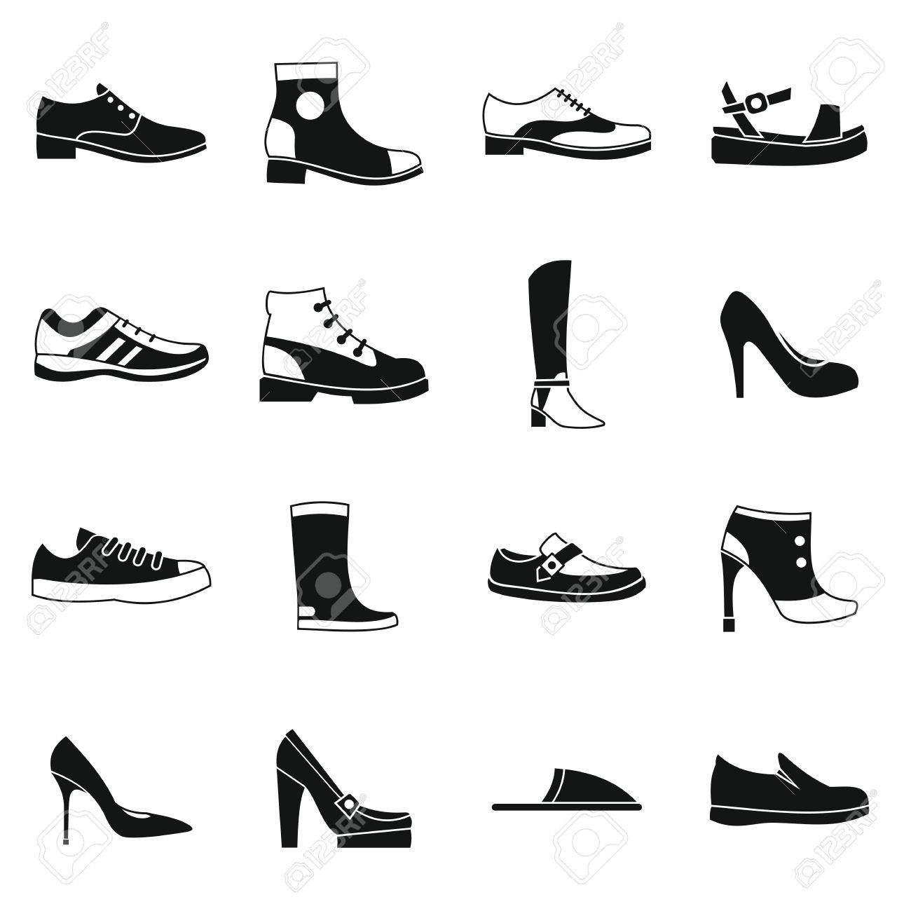 a290954fe3 Shoe icons set in simple style. Men and women shoes set collection vector  illustration Stock