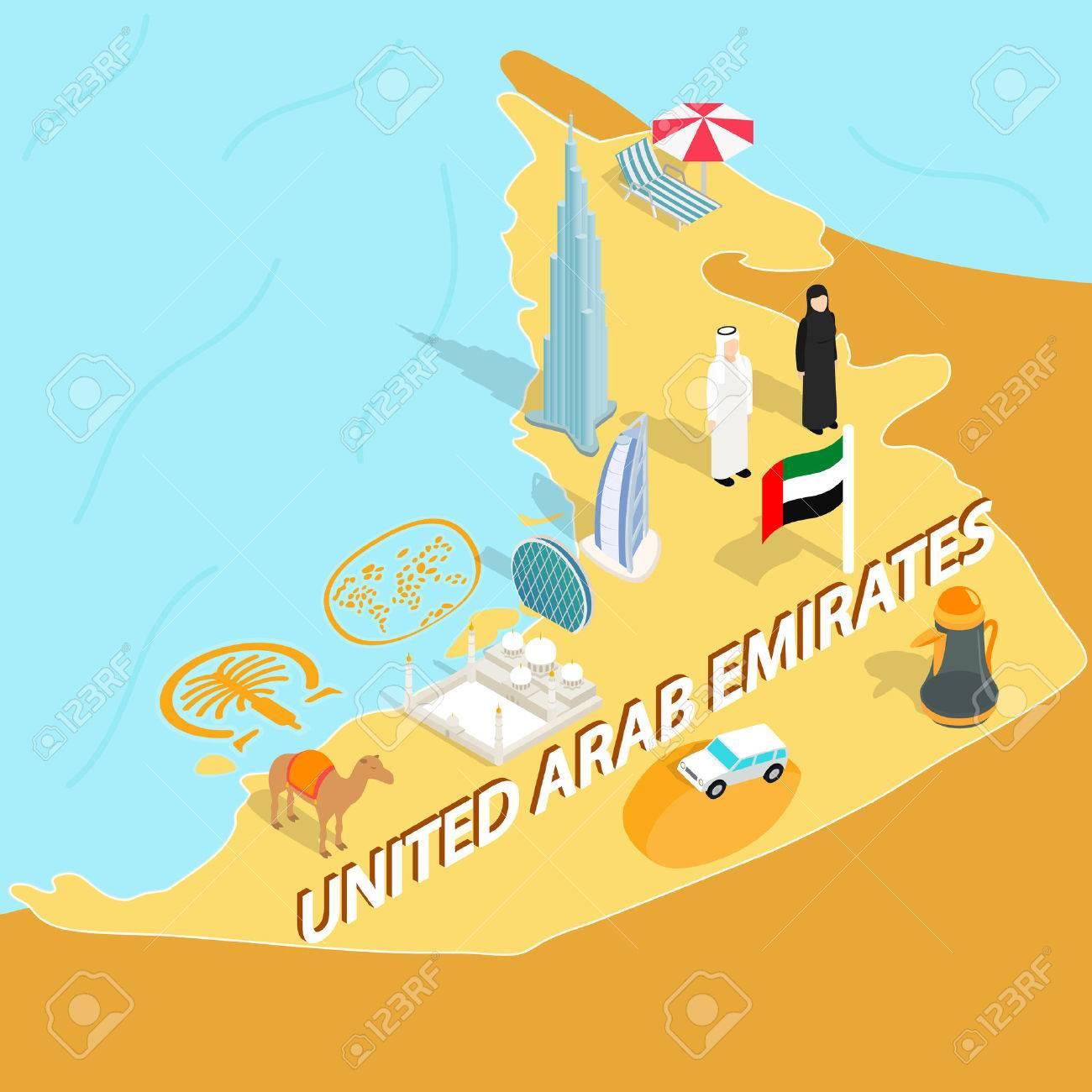 United Arab Emirates Map In Isometric 3d Style Symbols Of UAE