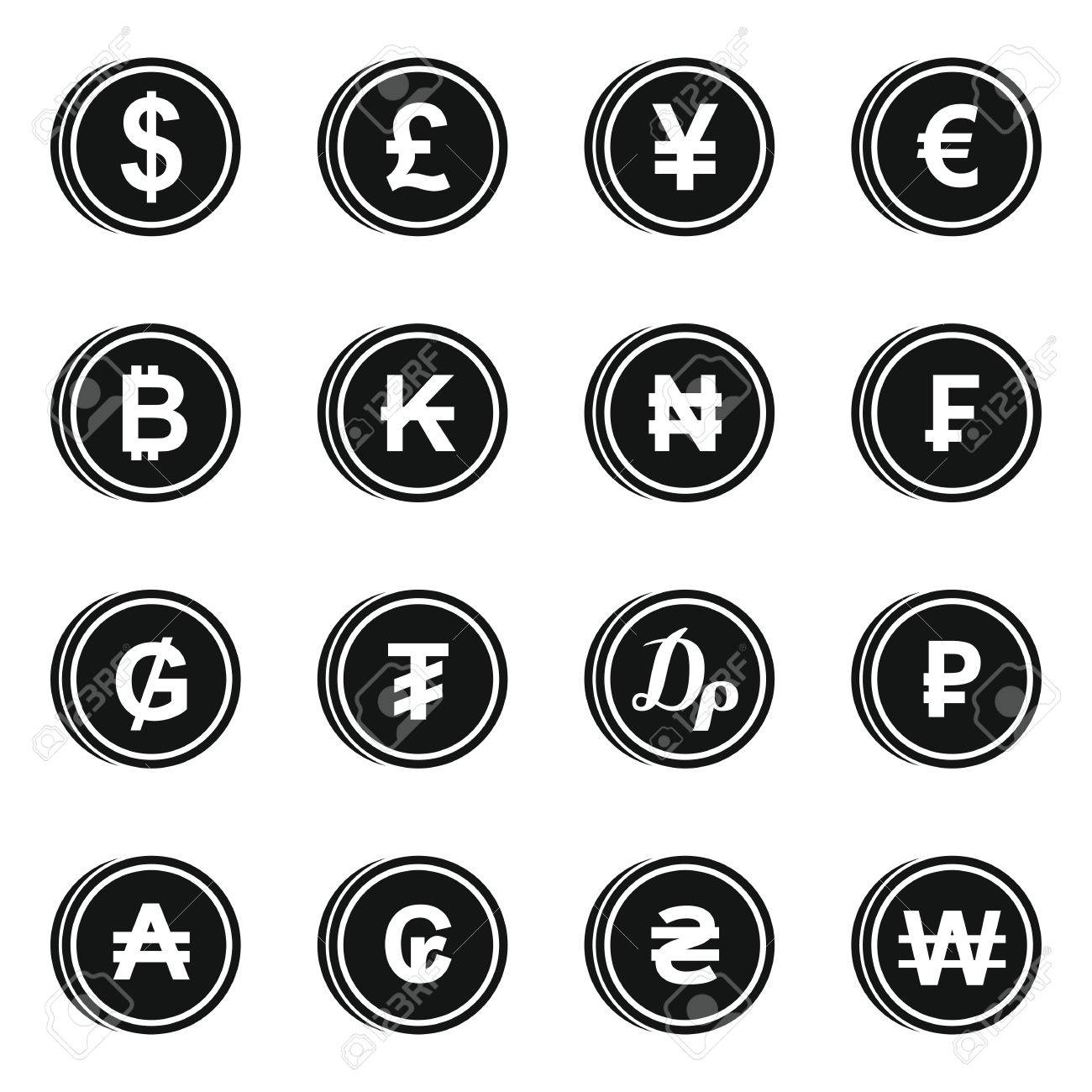 Currency From Different Countries Icons Set In Simple Style