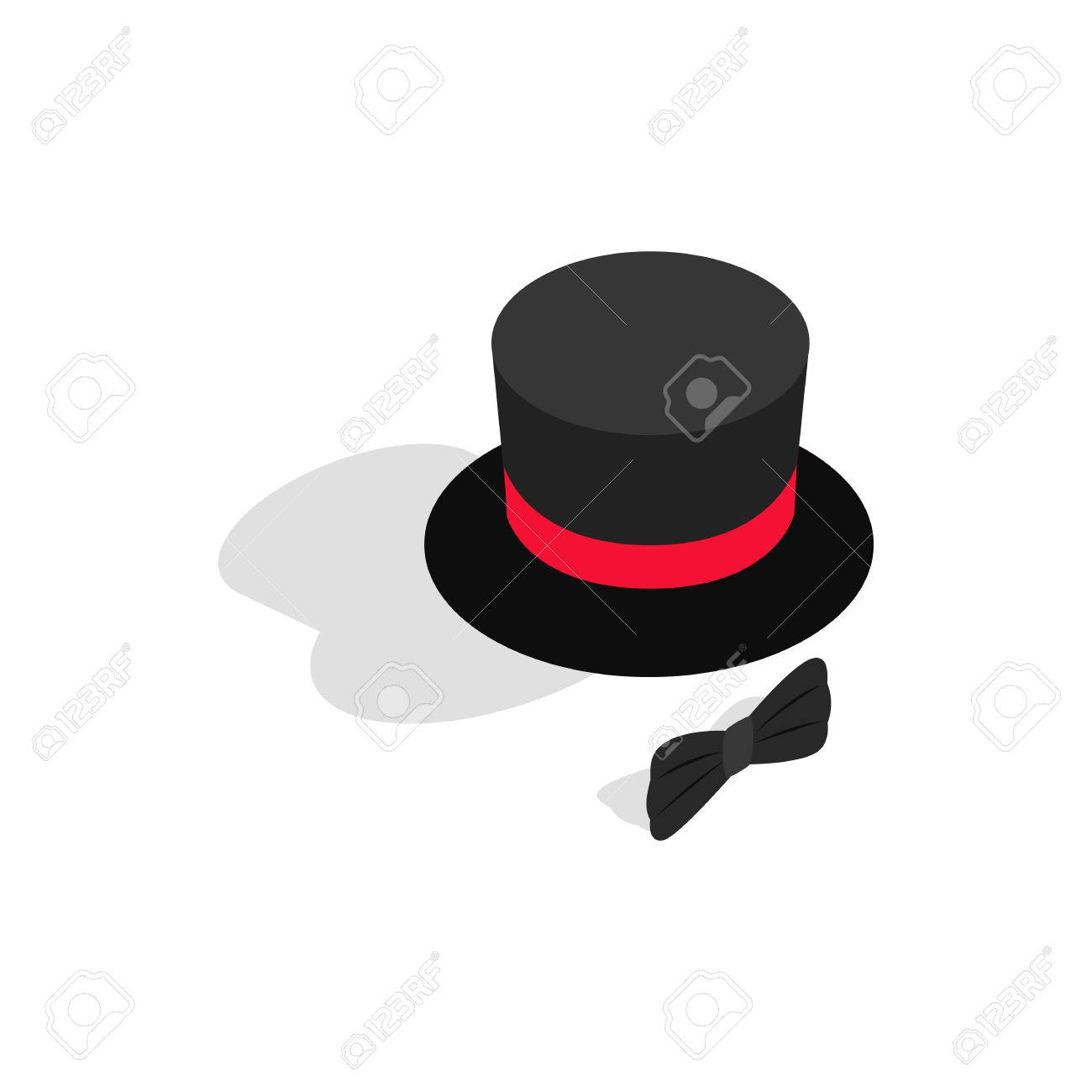 60d81d5d2db36 Black top hat and bow tie icon in isometric 3d style on a white background  Stock