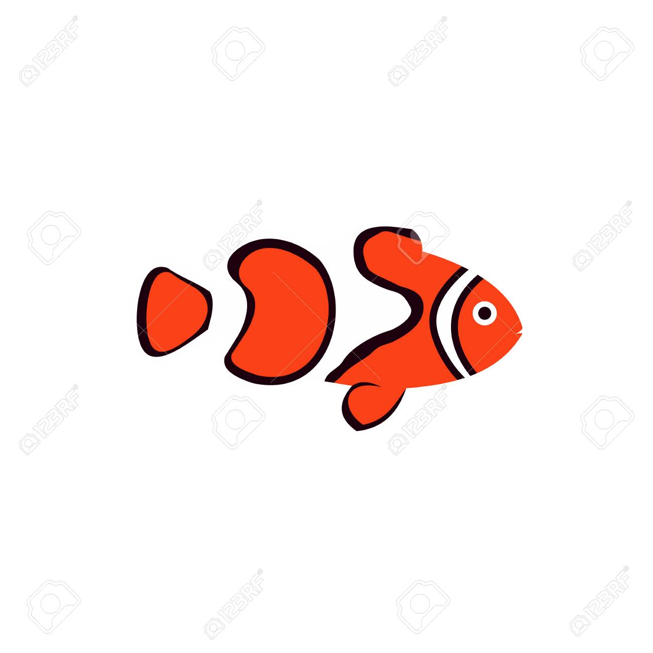 Clown Fish Icon In Flat Style On A White Background Royalty Free ...