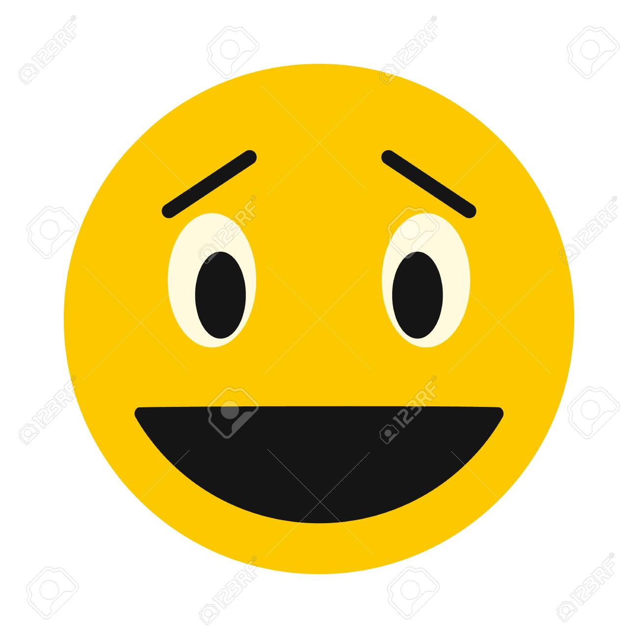 Laughing Smiley Face Icon In Flat Style Isolated On White Background Facial Expressions Symbol Stock