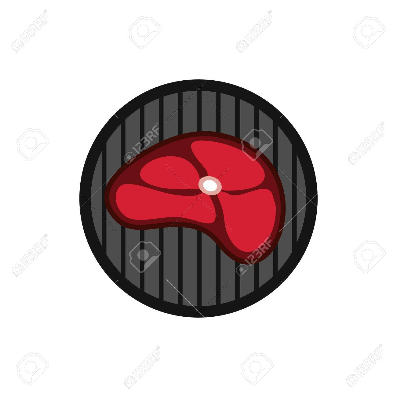 Steak On Grill Icon In Flat Style Isolated On White Background Food