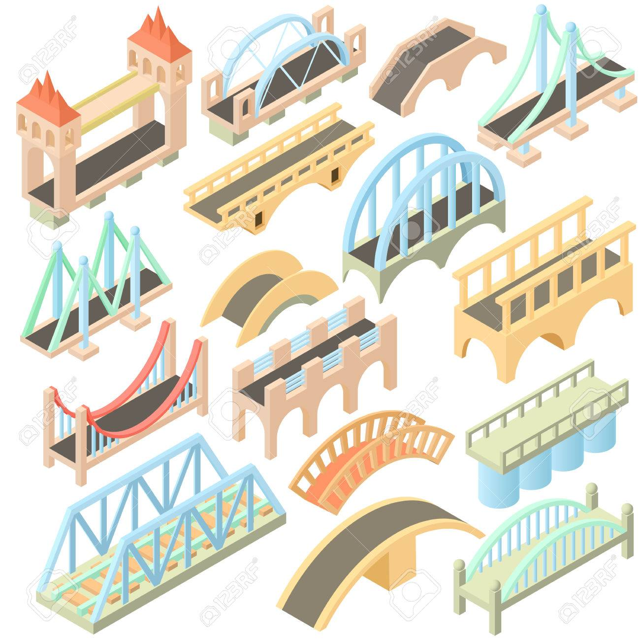 Isometric bridges stadium icons set. Universal bridges icons to use for web and mobile UI, set of basic bridges elements isolated vector illustration - 61022830