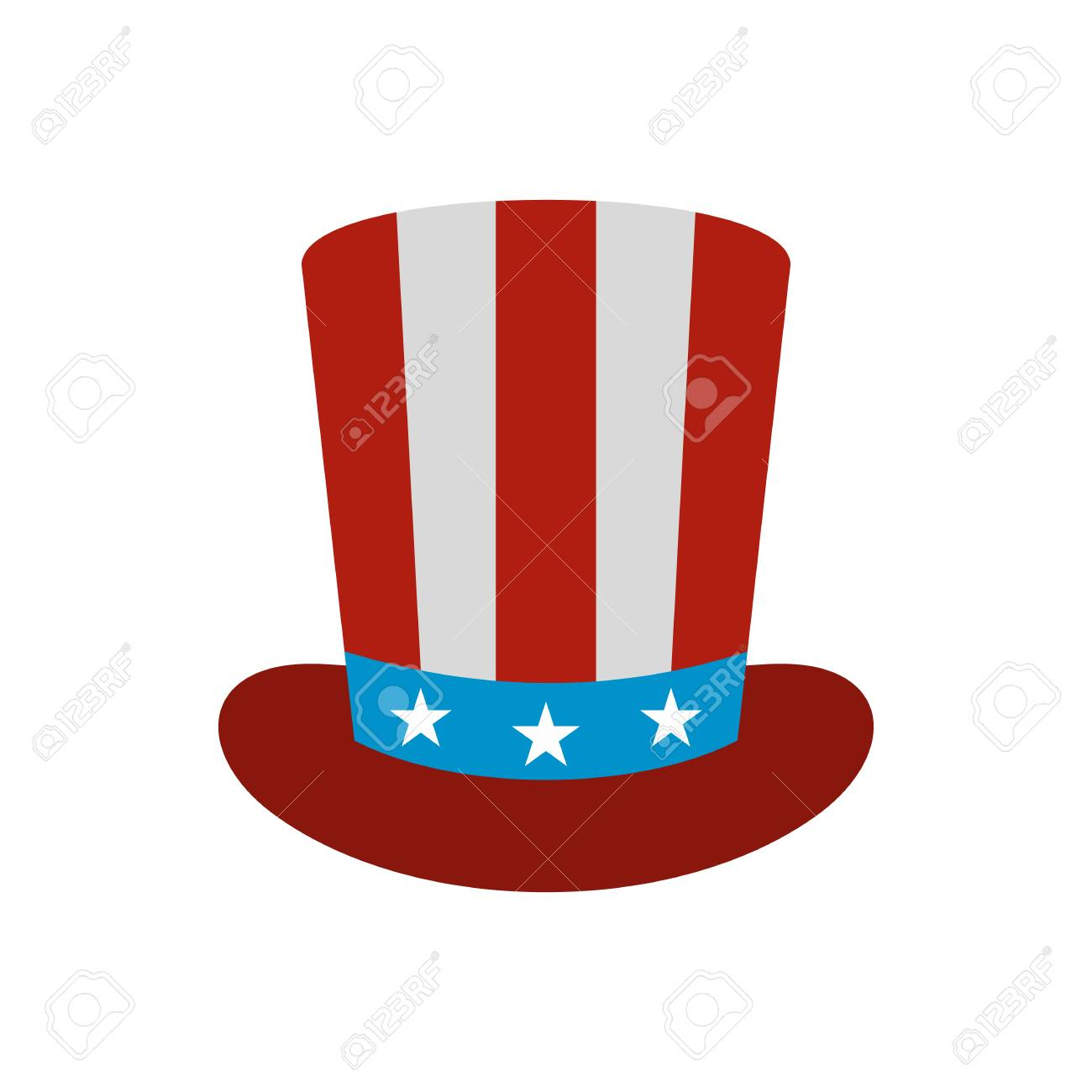 Top hat in the USA flag colors icon in flat style on a white background  Stock 079eaf981cb
