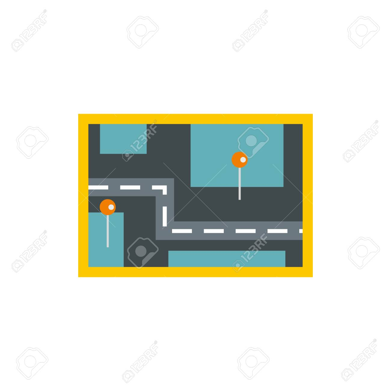 road map icon in flat style isolated on white background navigation