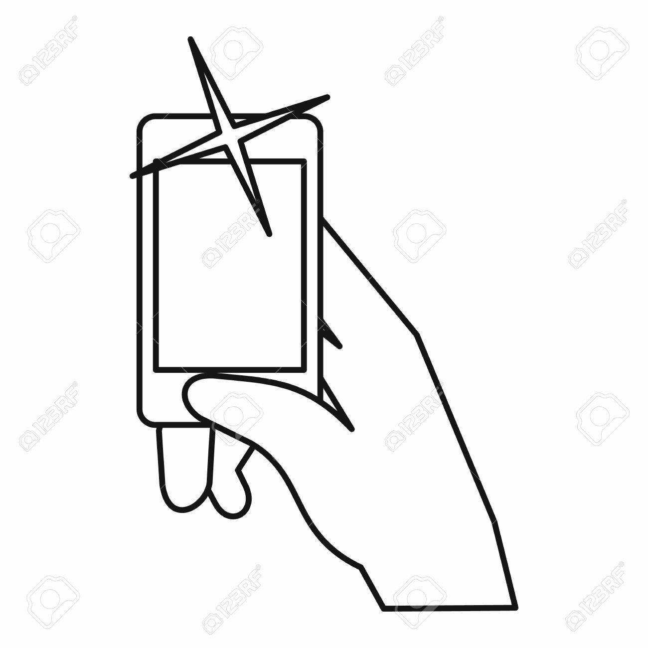 Hand Taking Pictures On Cell Phone Icon In Outline Style Isolated ...