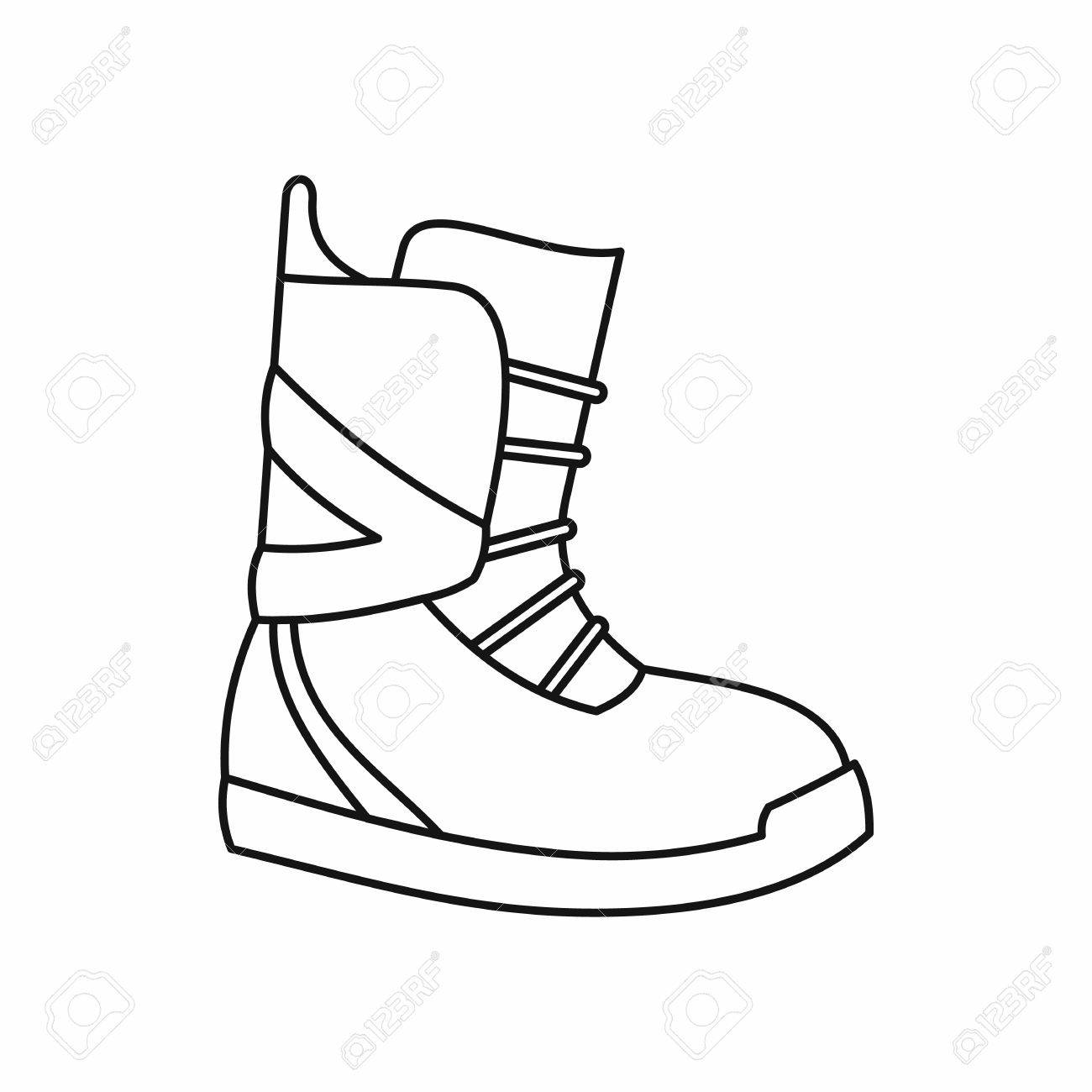 Boot for snowboarding icon in outline style isolated on white..