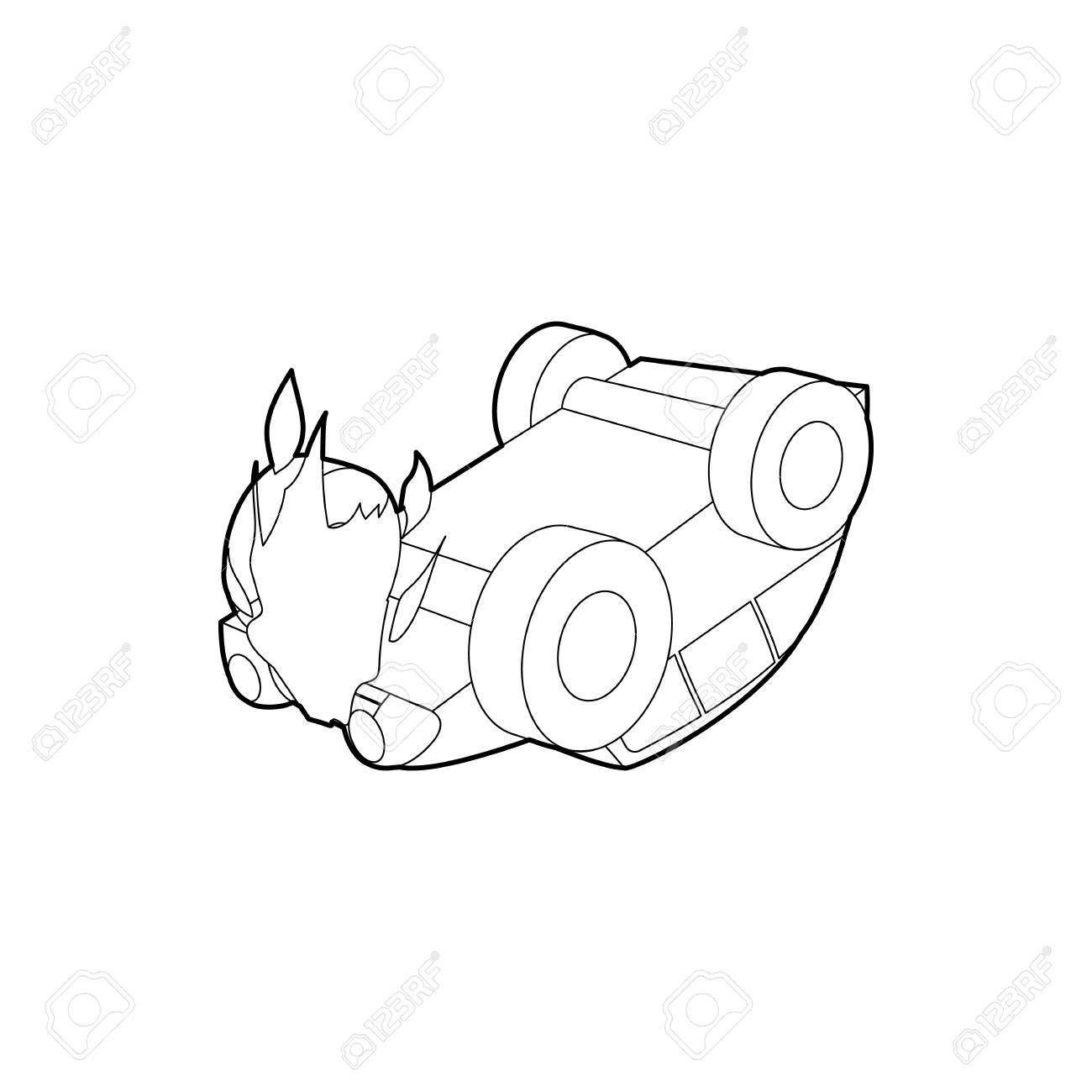 Car Accident Icon In Outline Style On A White Background Royalty
