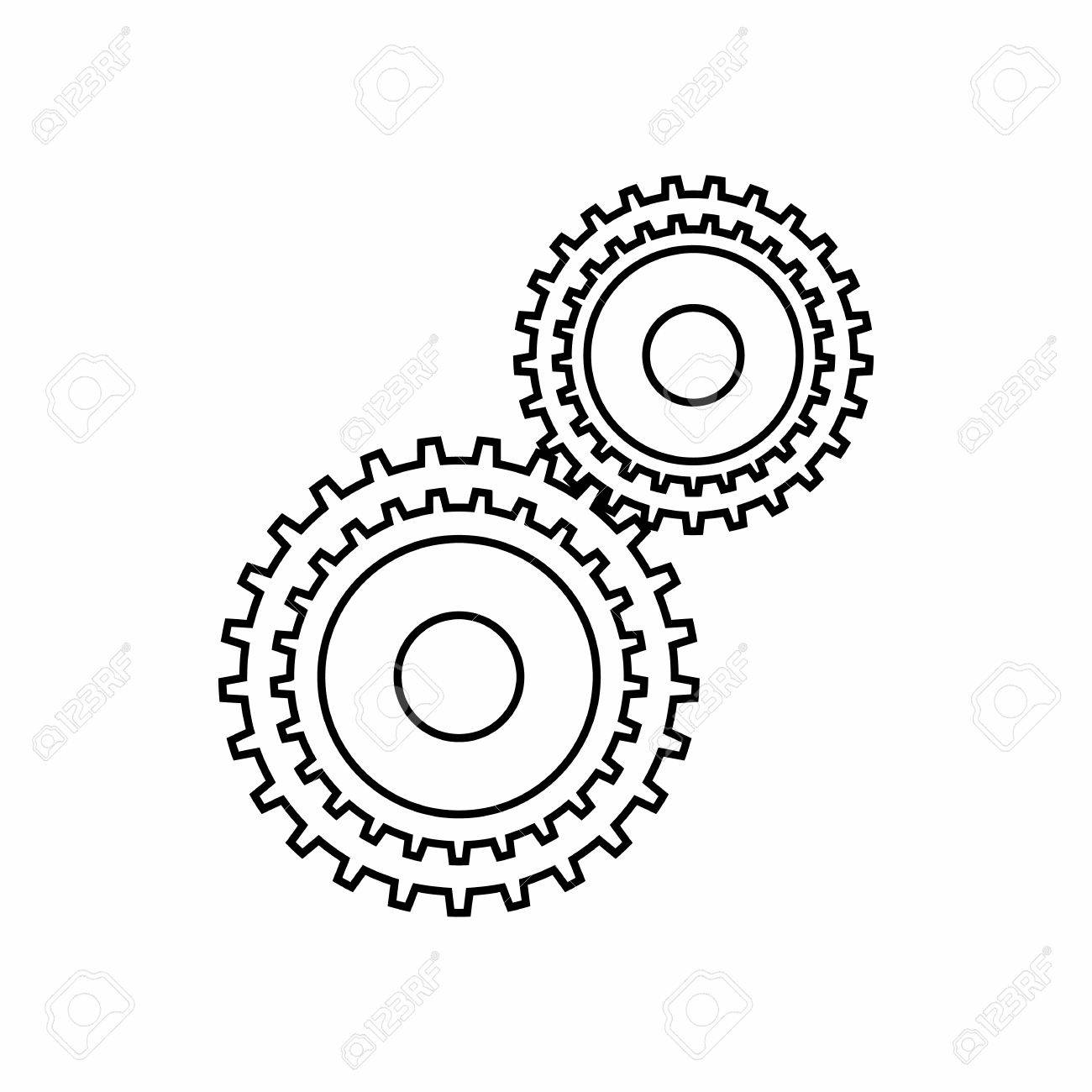 Gear Mechanism Icon In Outline Style Isolated On White Background