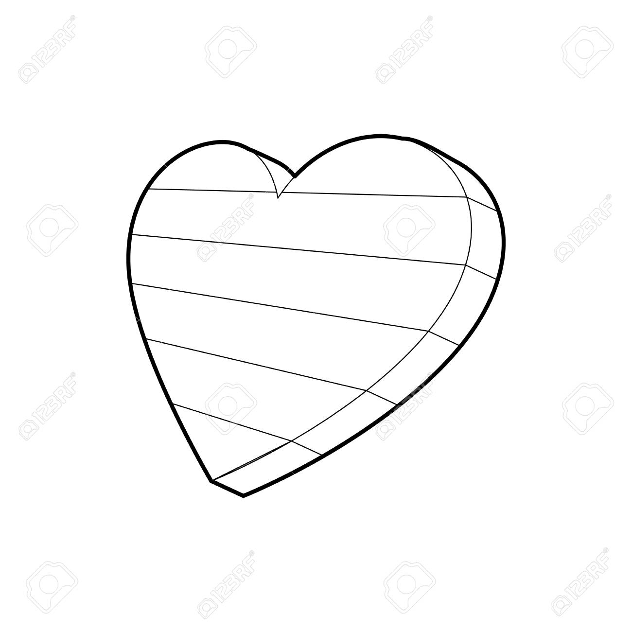 Lgbt Heart Symbol Icon In Outline Style Isolated On White Background
