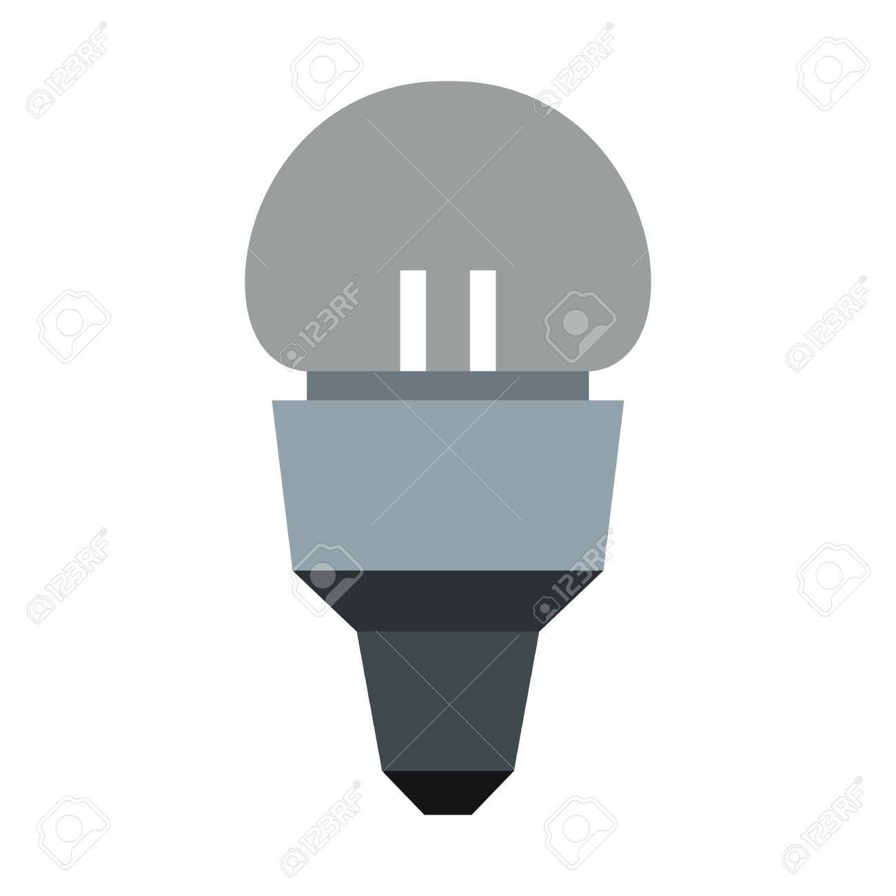 Led Lamp Icon In Flat Style Isolated On White Background. Lighting ...