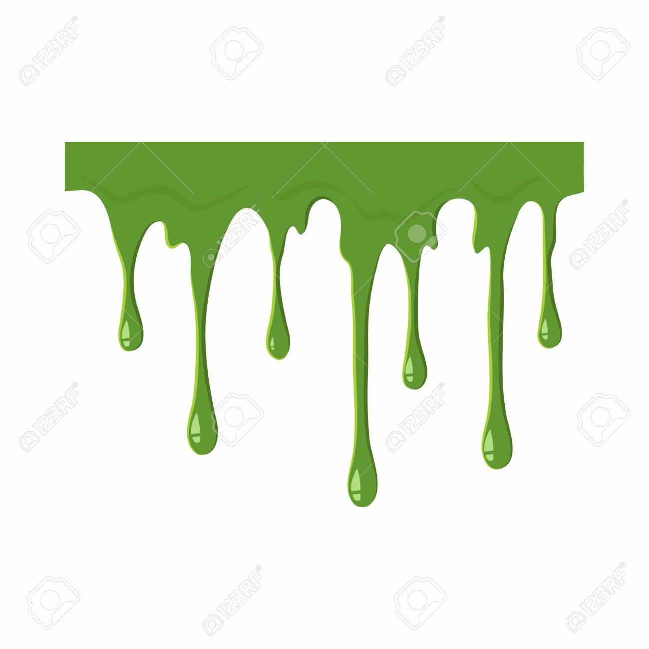Oozing Slime Isolated On White Background Green Slime Vector