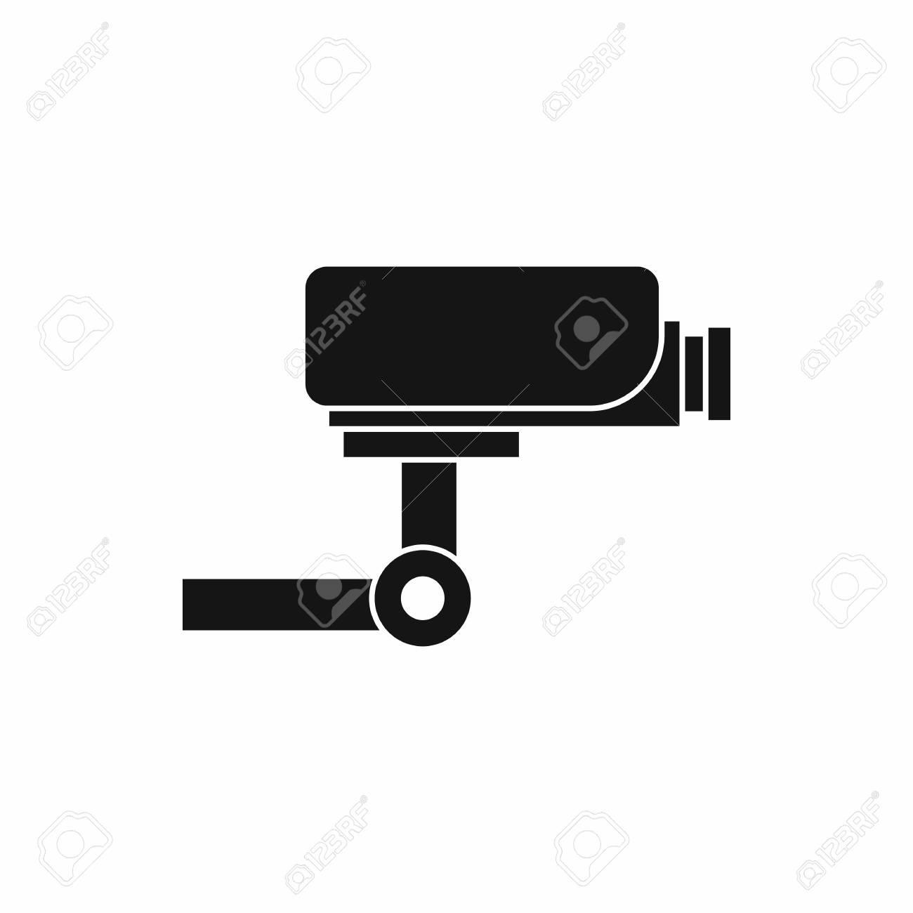 Circuito Sencillo : Icono de cámara de circuito cerrado de forma sencilla aislado sobre