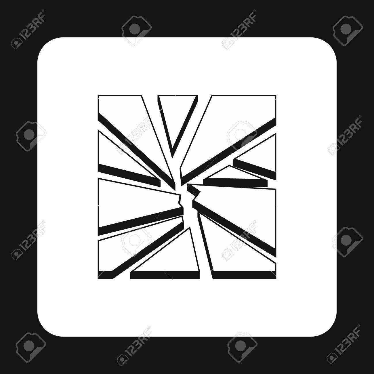 broken glass icon in simple style isolated on white background