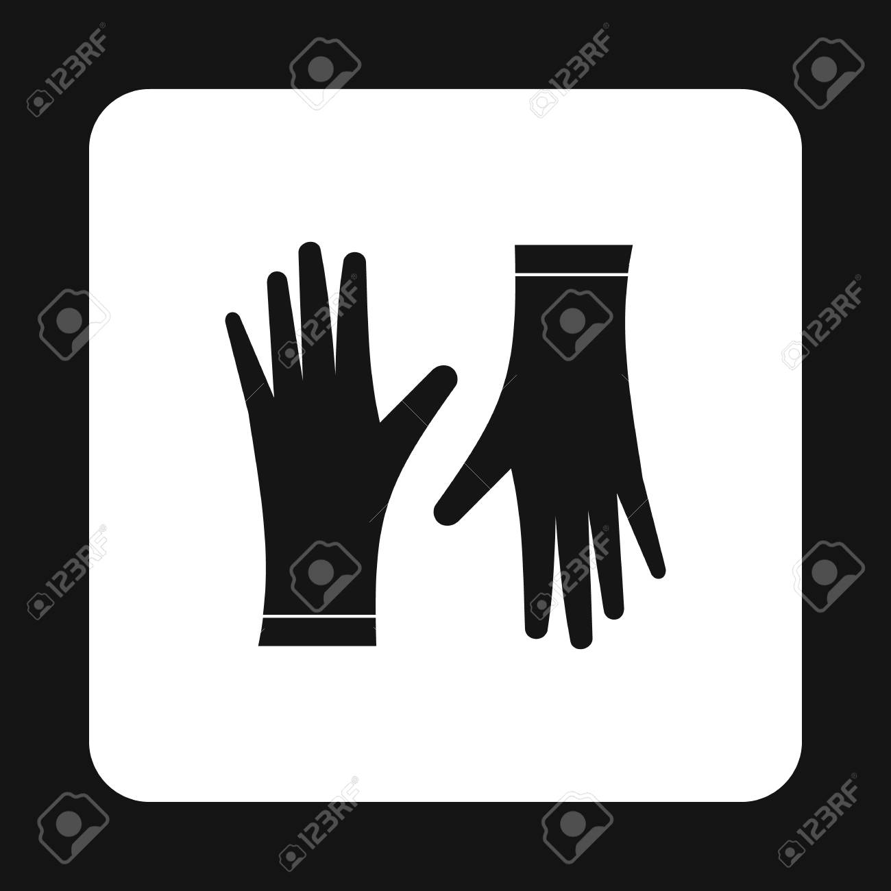 Rubber Gloves Icon In Simple Style Isolated On White Background